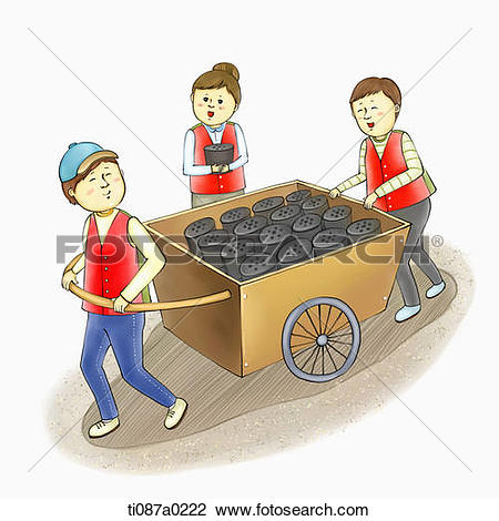 Clip Art of Volunteer carrying the briquette ti087a0222.