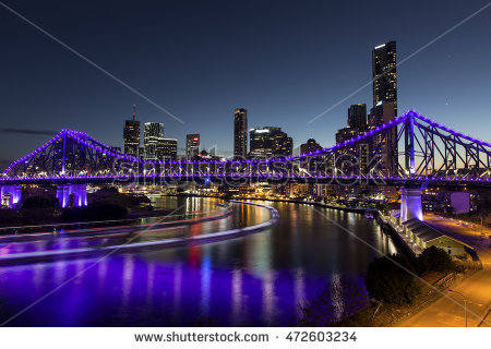 Story Bridge Night Lights Stock Photos, Royalty.