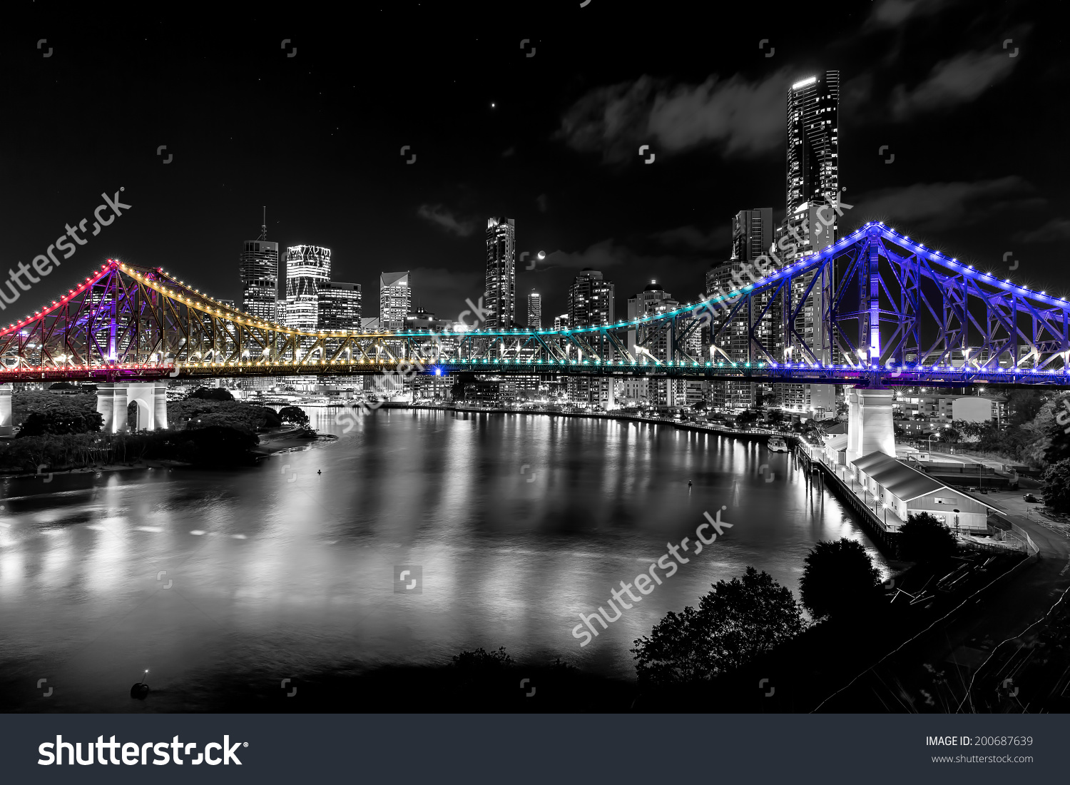 Brisbane Australia Story Bridge By Night Stock Photo 200687639.