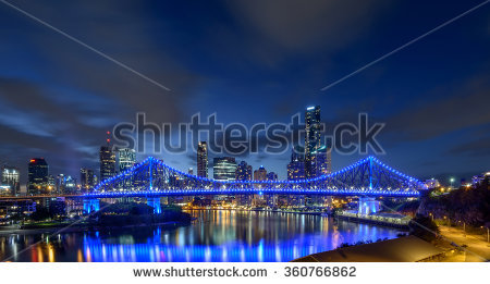Brisbane Story Bridge Night Stock Photos, Royalty.