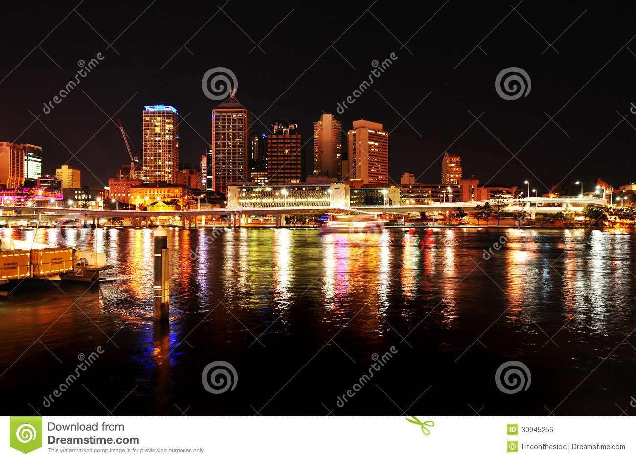 Brisbane City Night Lights River Reflection Australia Stock Photo.