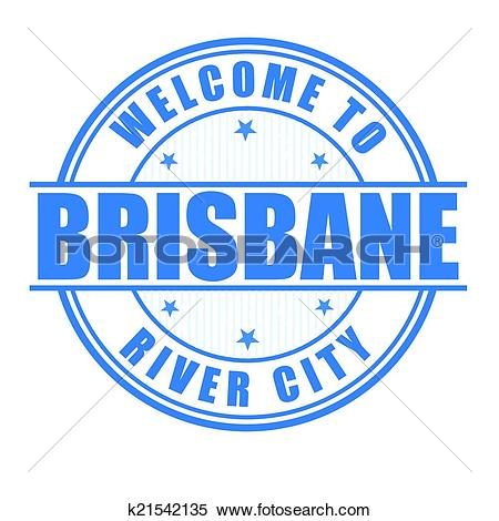 Clipart of Welcome to Brisbane stamp k21542135.
