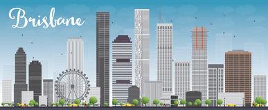Brisbane Skyline Black White Stock Illustrations.