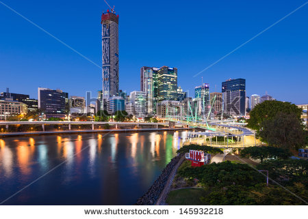 Brisbane River City Stock Photos, Royalty.