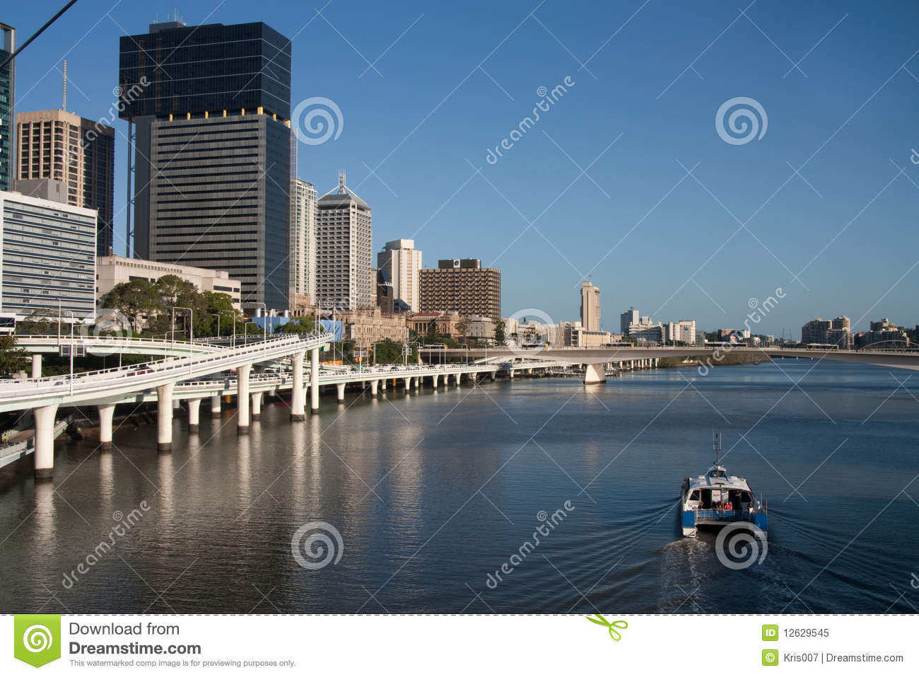Brisbane River With Ferry Royalty Free Stock Photo.