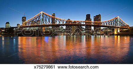 Stock Photography of Brisbane City & Story Bridge, Brisbane River.