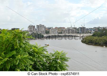 Stock Photography of Brisbane River and the Captain Cook.