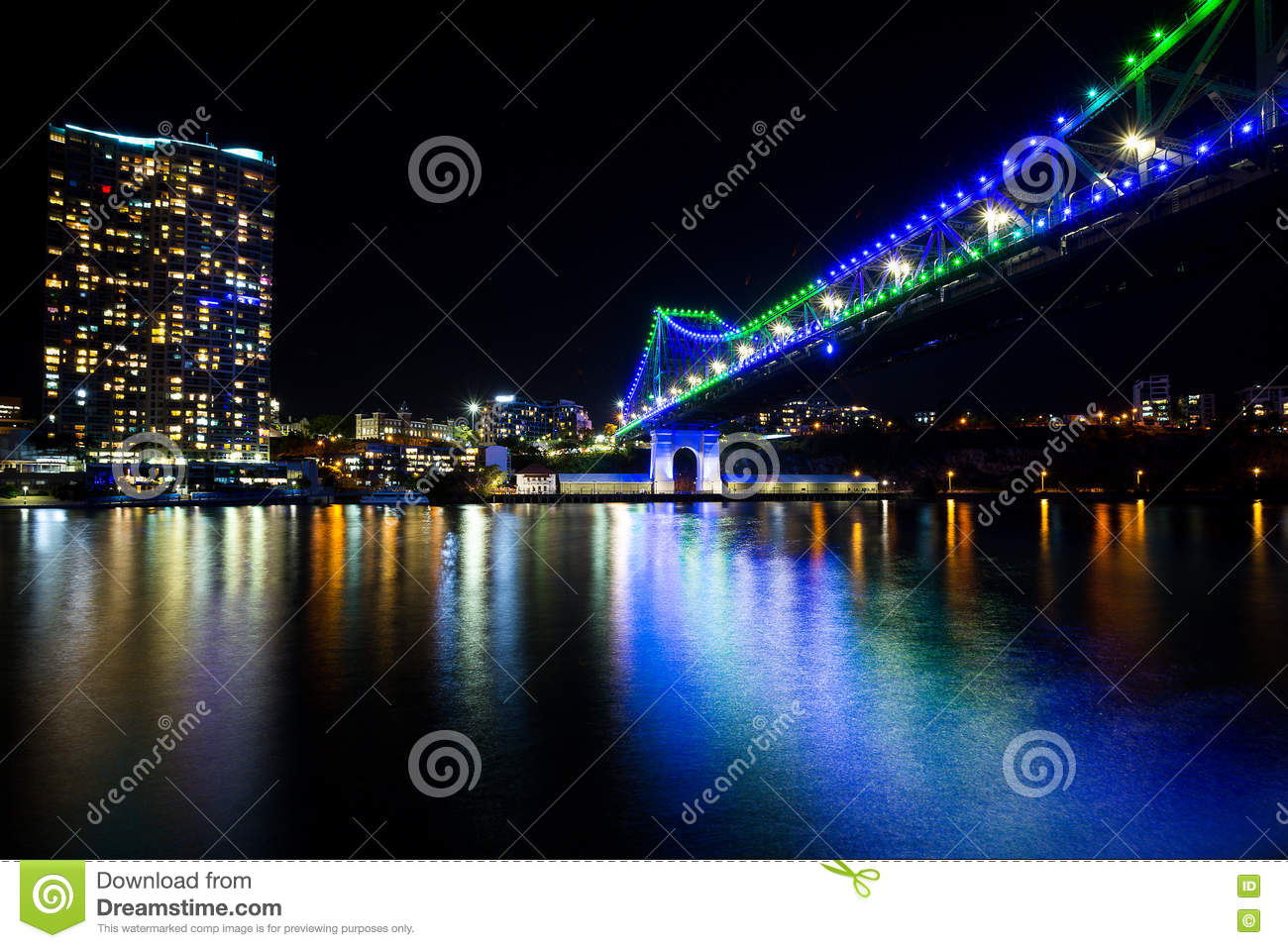 Story Bridge Across The Brisbane River Stock Photo.