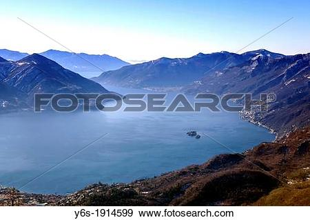 Stock Photograph of view on the Lake Maggiore with the Brissago.