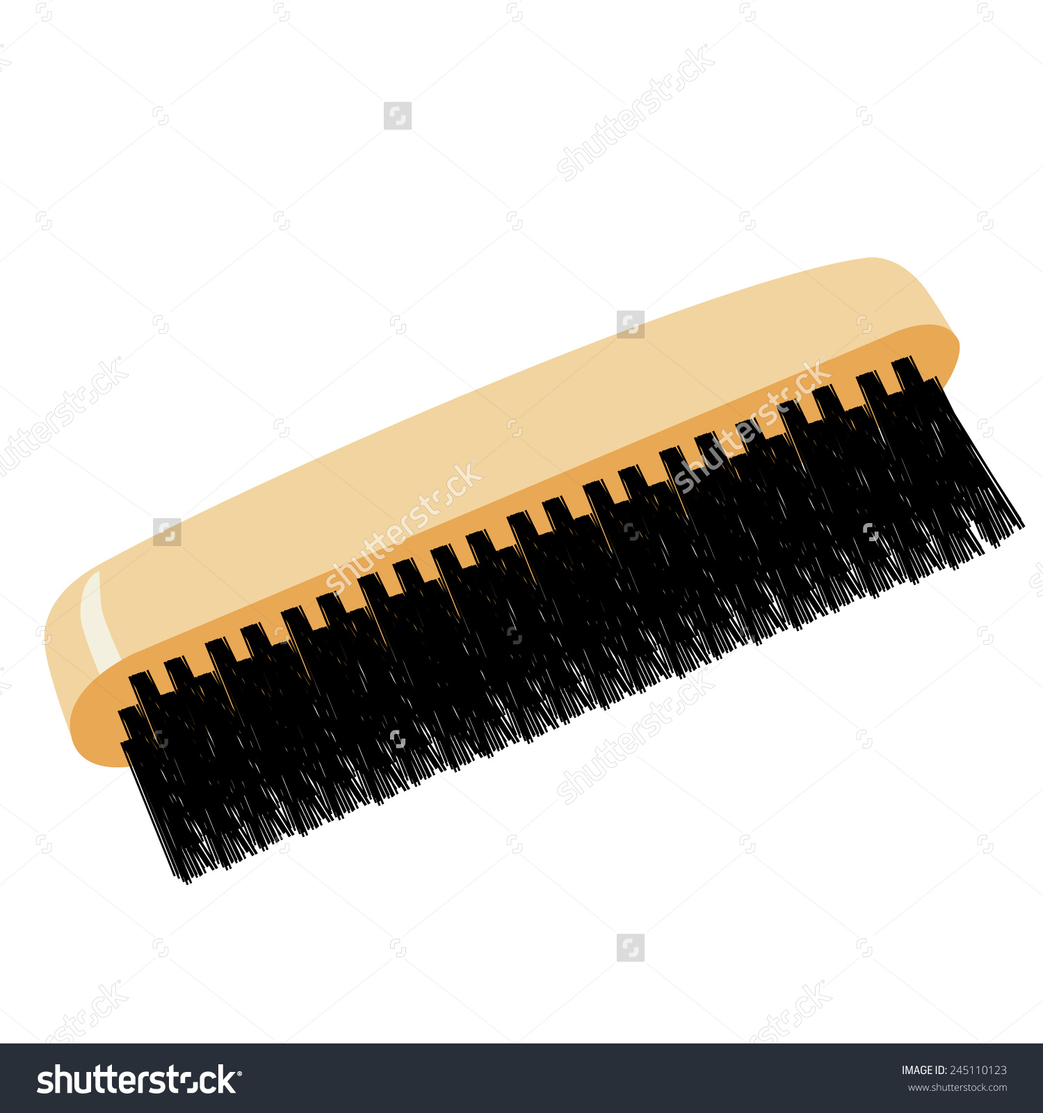 Shoe Brush Vector Icon Isolated Wooden Stock Vector 245110123.