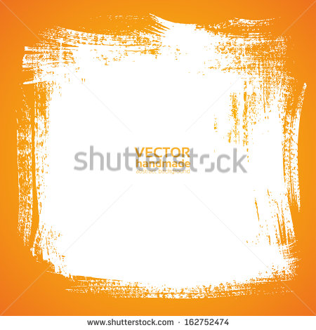 Background Smear Paint Bristle Brush On Orange Stock Vector.