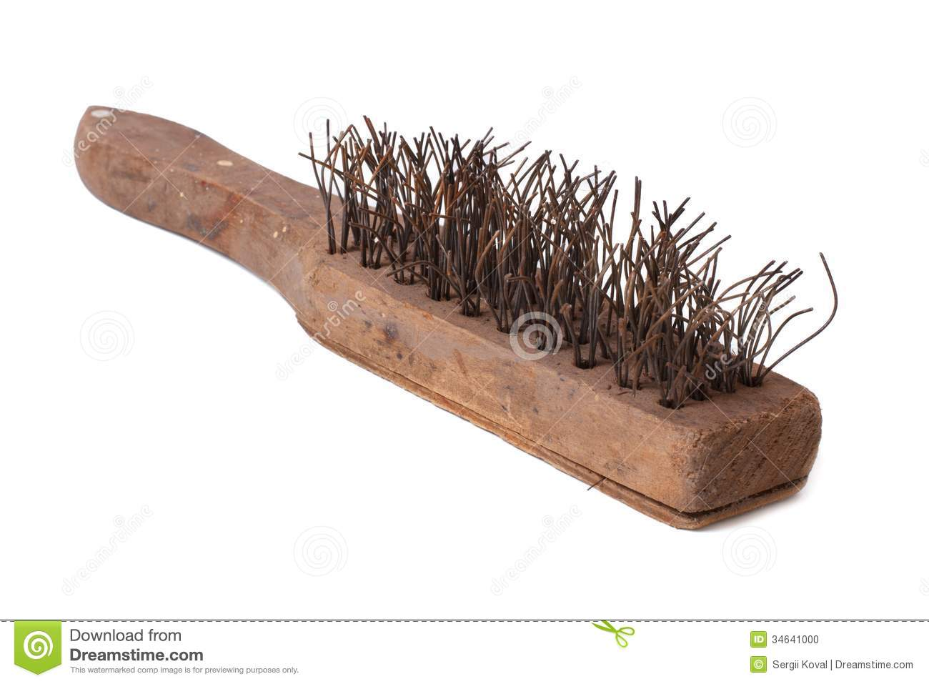 Wooden Wire Brush With Metal Bristles For Rust Remove Stock Photo.