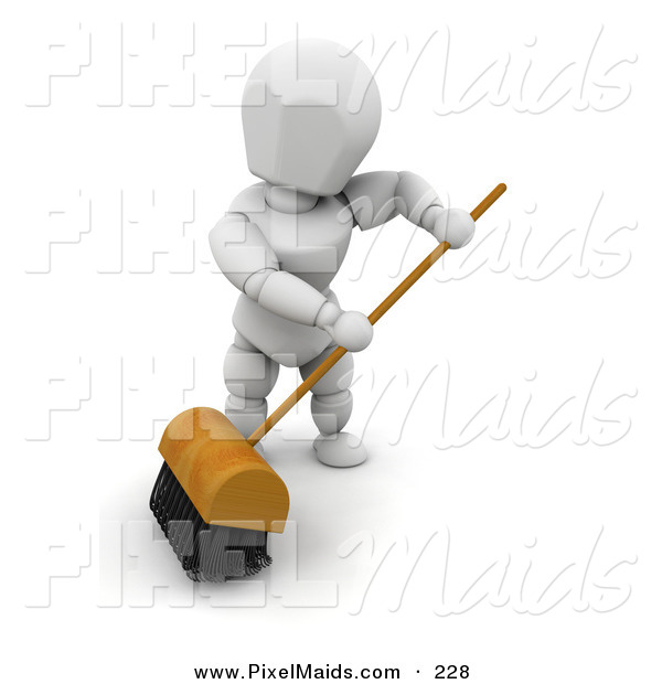 Clipart of a White Man Sweeping a Floor with a Big Push Broom with.