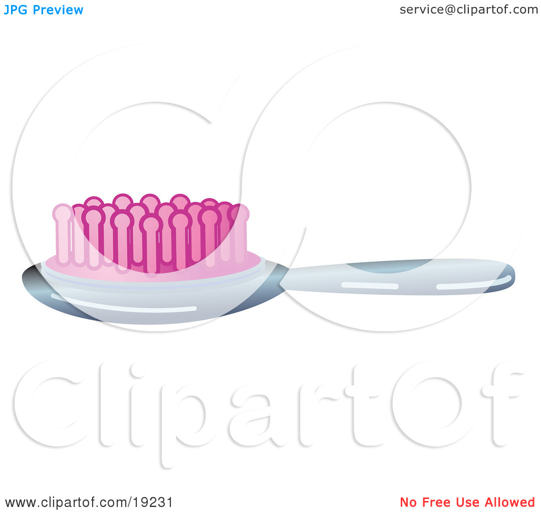 Clipart Illustration of a Silver Hair Brush With Pink Bristles by.