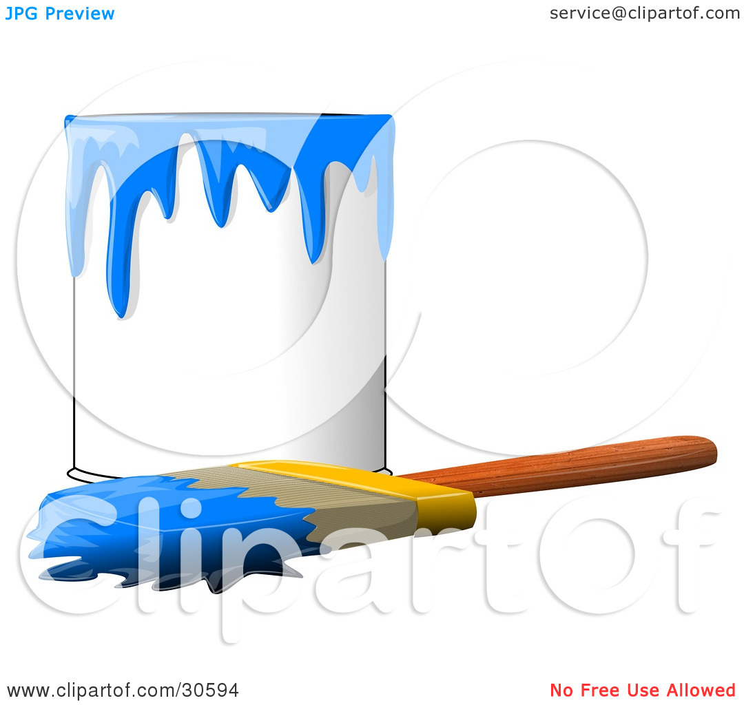 Clipart Illustration of a Wood Handled Paintbrush With Blue Paint.