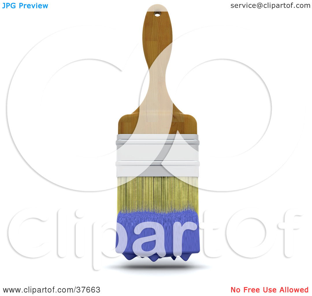 Clipart Illustration of a Wooden Handled Paint Brush With Blue.