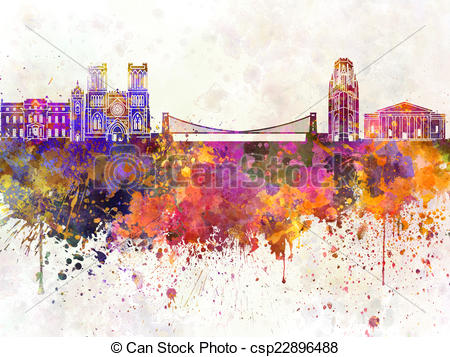Bristol skyline in watercolor Illustrations and Clip Art. 2.