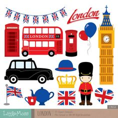 British Digital Clipart London Clipart England Clipart by SSGARDEN.