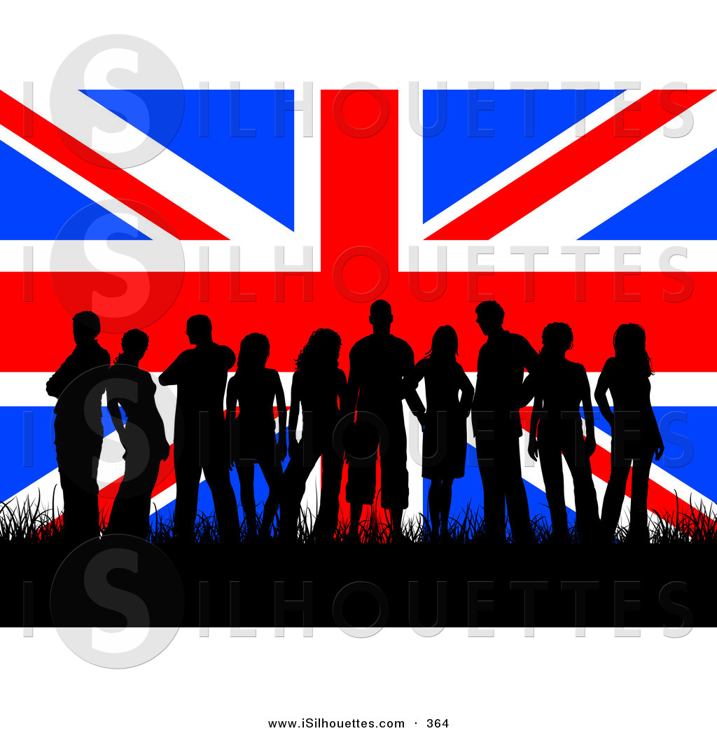 Silhouette Clipart of a Group of Many British Teenagers.