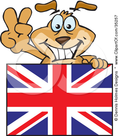 Clipart Illustration of a Friendly British Dog Gesturing The Peace.