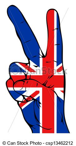 Clipart of Peace sign with British flag csp13462212.