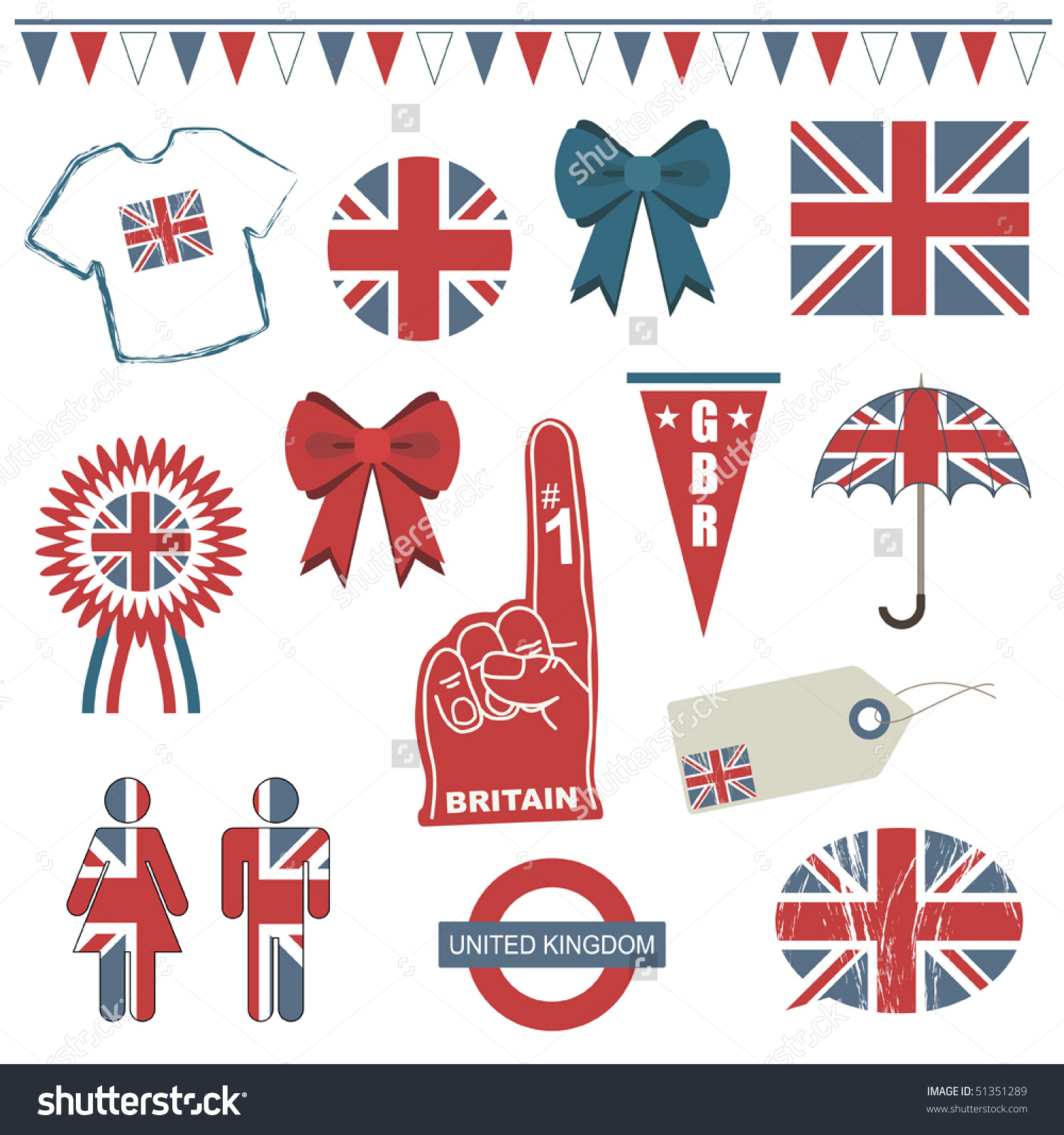 Collection Great Britain Supporter Clip Art Stock Vector 51351289.