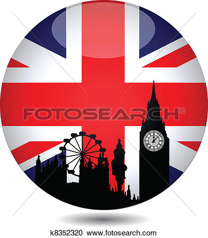 Clip Art of Dotted Great Britain flag button k11185146.