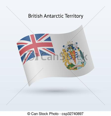 EPS Vectors of British Antarctic Territory flag waving form.