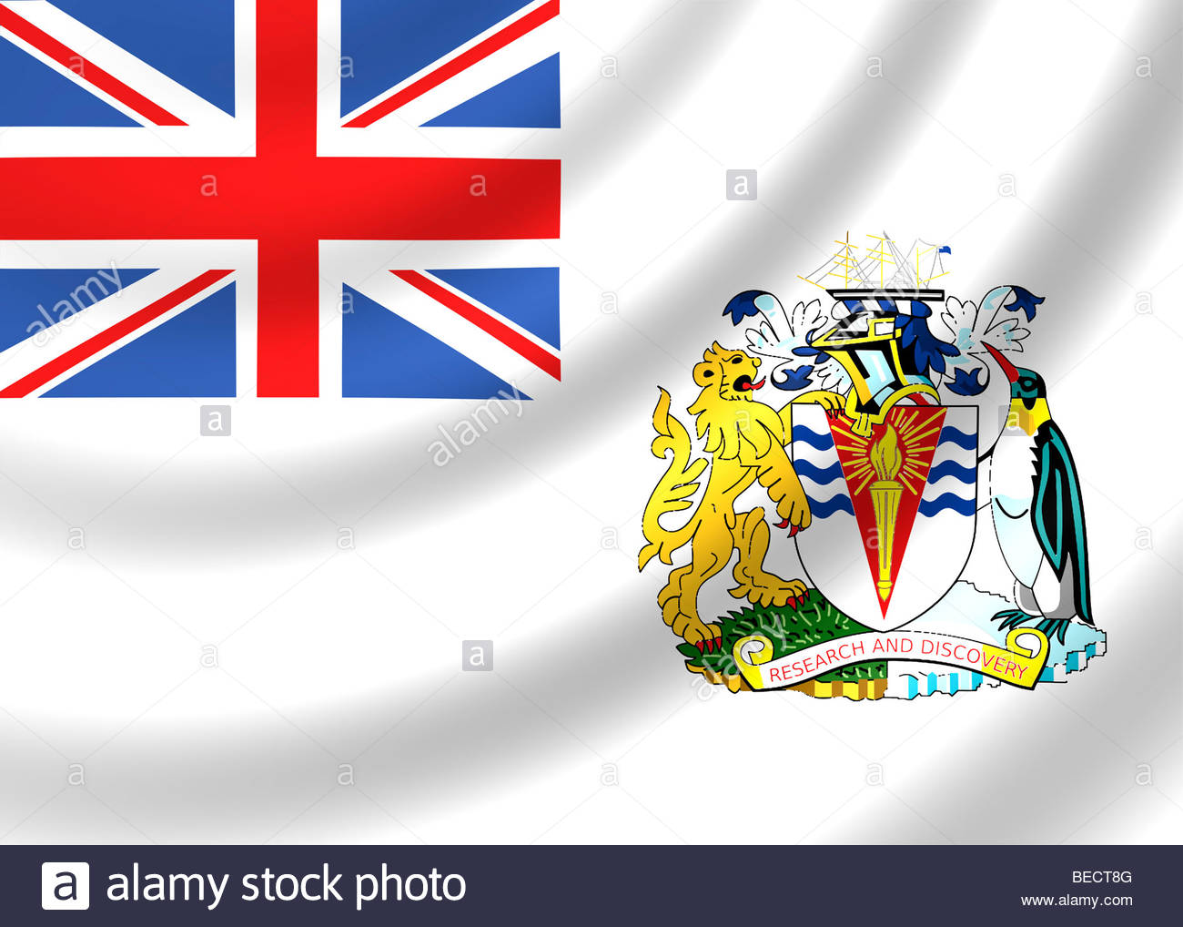 British Antarctic Territory Flag Stock Photo, Royalty Free Image.