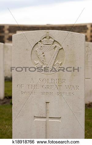 Stock Images of New British Cemetery Irish soldier flanders fields.