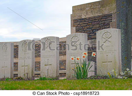 Stock Photo of New British Cemetery in flanders fields great world.