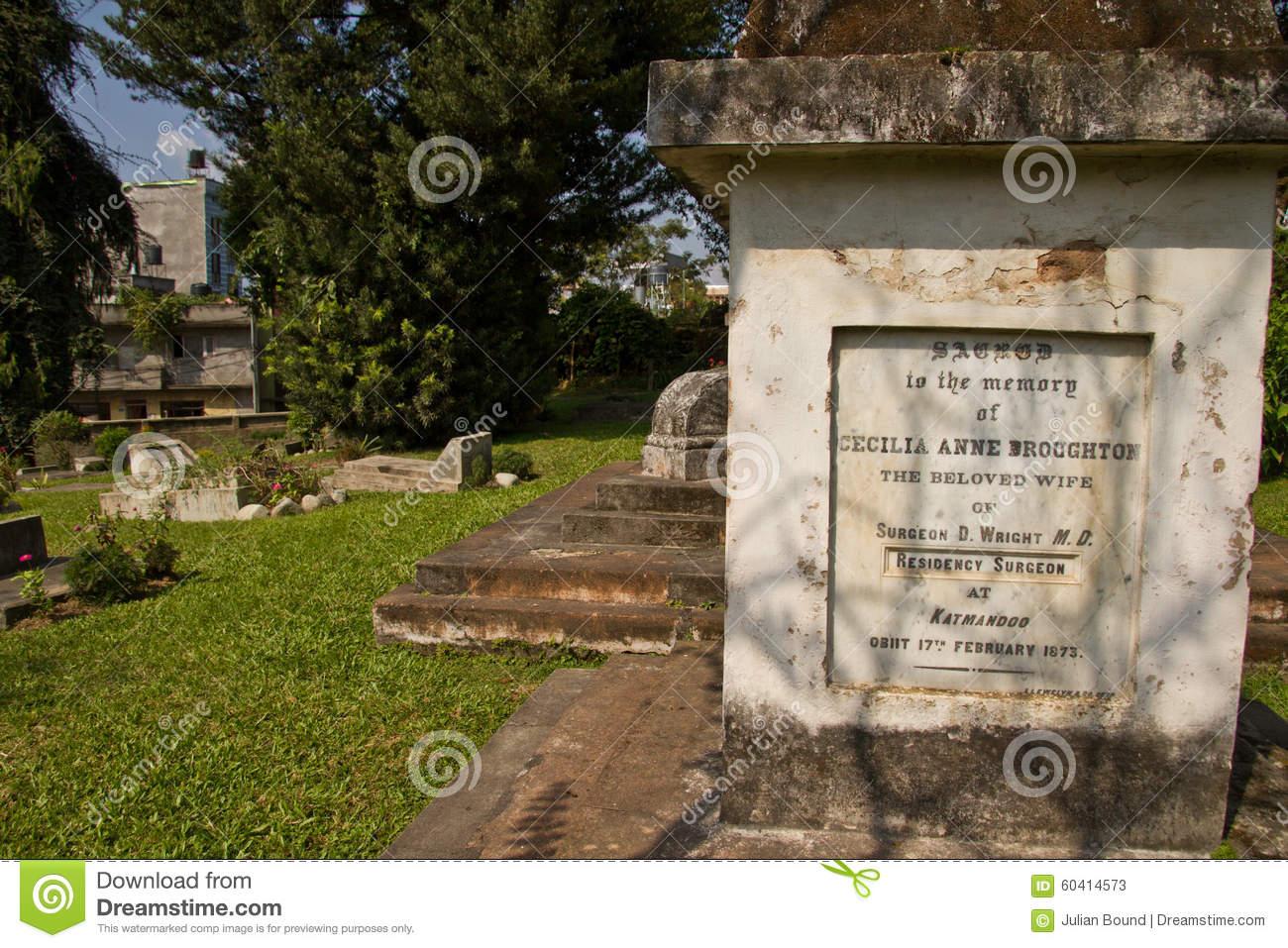 Gravestone Of The British Cemetery In Kathmandu, Nepal Editorial.