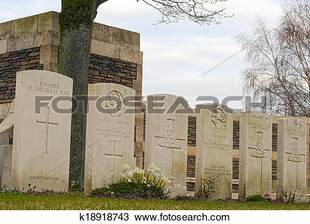 Stock Photo of New British Cemetery in flanders fields Belgium.