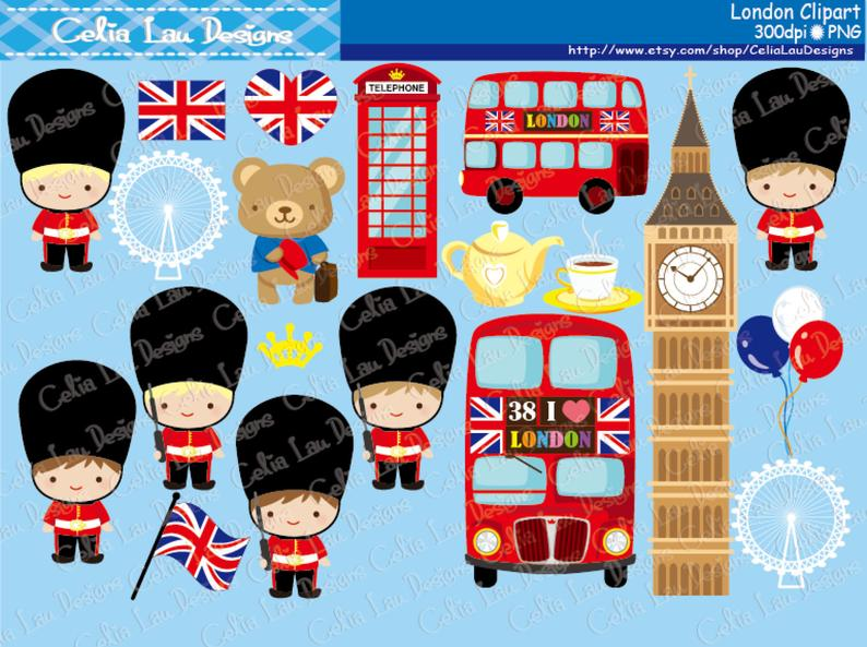 London clipart , London England British Clip art , Great Britian United  Kingdom clipart (CG128) / INSTANT DOWNLOAD.
