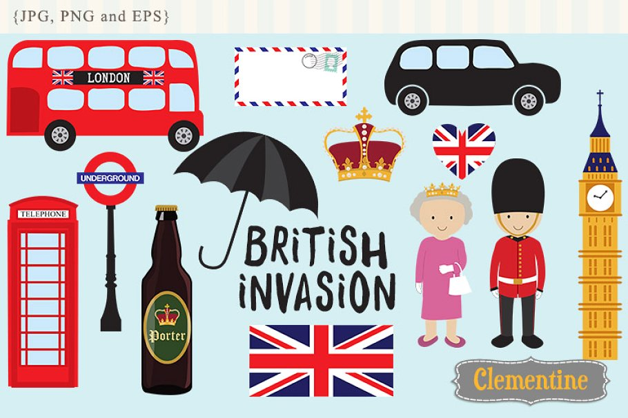 British Invasion clip art.