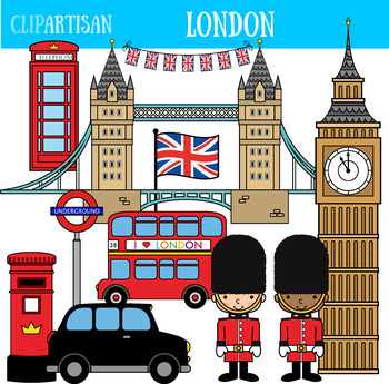 London Clip Art, British Printable.