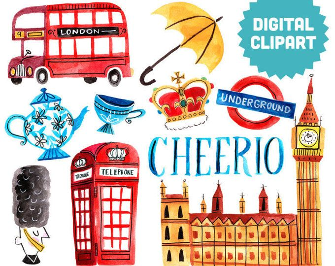 LONDON Digital Clipart Instant Download Illustration Great Britain.