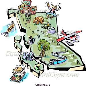 British Columbia map Vector Clip art.