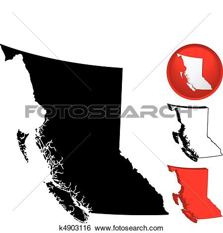Clip Art of Detailed Map of British Columbia, Canada k4903116.