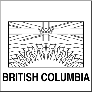 Clip Art: Flags: British Columbia B&W I abcteach.com.
