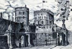 Old British Fort Stock Illustrations.