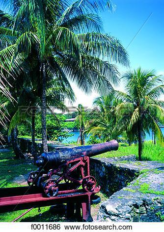 Stock Images of Jamaica, Port Antonio, the British fort, guns.
