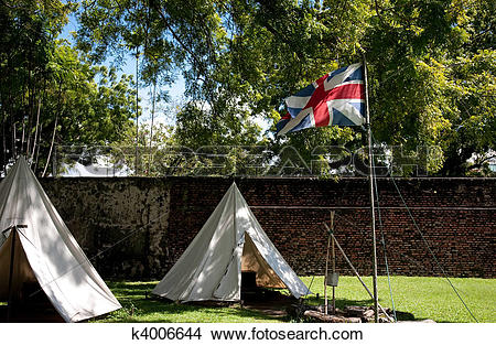 Stock Photo of British flag on the fort k4006644.