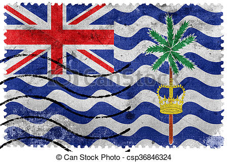 Clip Art of Flag of British Indian Ocean Territory, old postage.