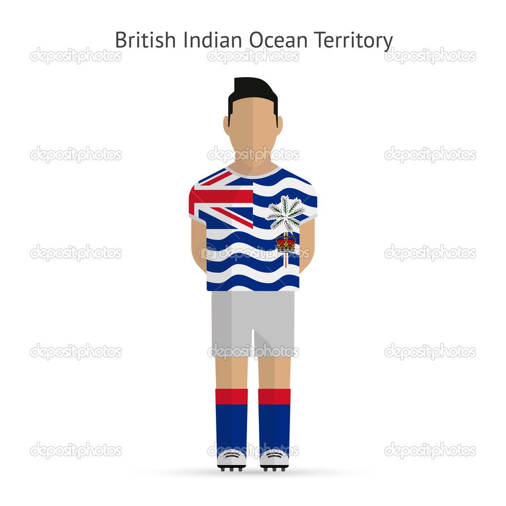 British Indian Ocean Territory football player. Soccer uniform.