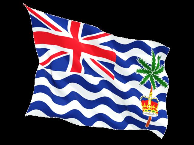 Fluttering flag. Illustration of flag of British Indian Ocean.