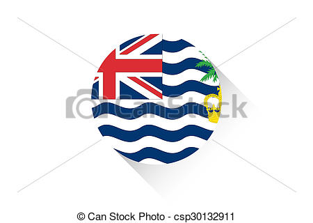 Clipart of Round flag with shadow of British Indian Ocean.