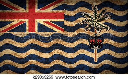 Clip Art of Flags British Indian Ocean Territory with dirty paper.