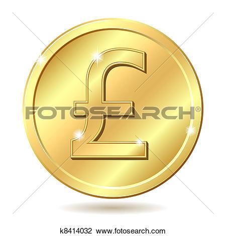 Clipart of Vector set British money gold coin one pound k9054425.
