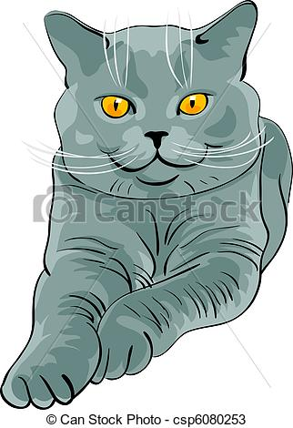 Vectors of British shorthair blue cat lies and looks.